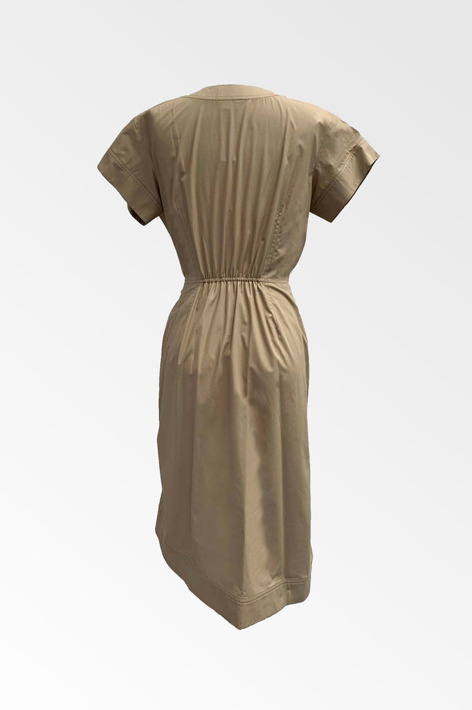 Cotton poplin Khaki Tie Wrap dress ONLY 1 LEFT