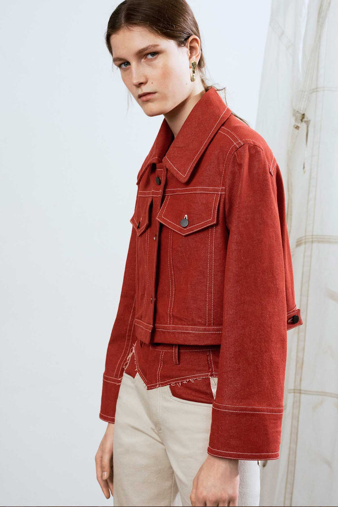 Red cropped boxy denim jacket
