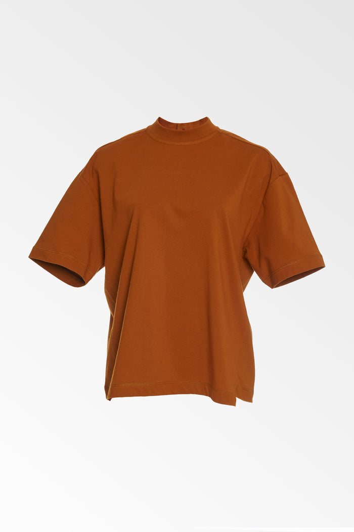 Copper Mock neck T-shirt -  SALE