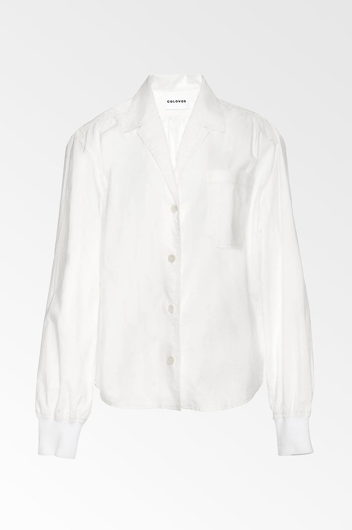 White cotton poplin Rib cuff Blouse-  SALE