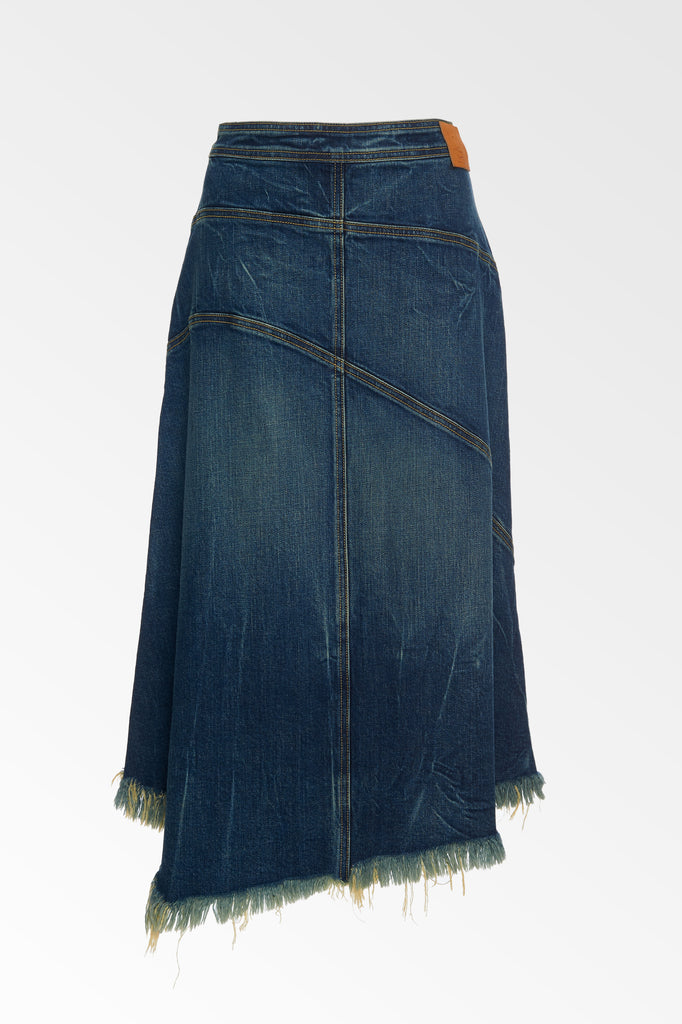 Seamed Denim Skirt - Medium Fade Wash
