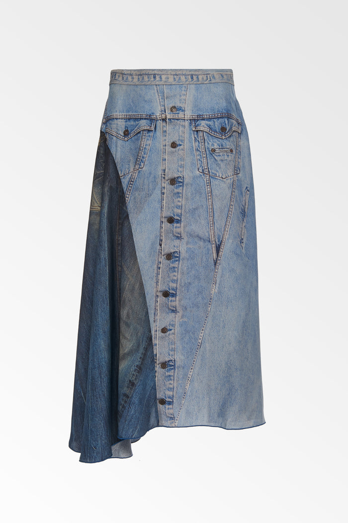 Silk denim print skirt- SALE