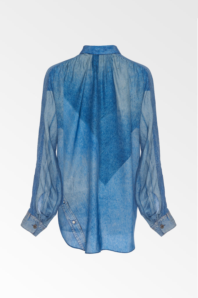 Silk denim print shirt