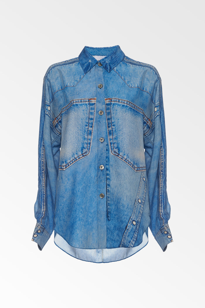 Silk denim print shirt- SALE