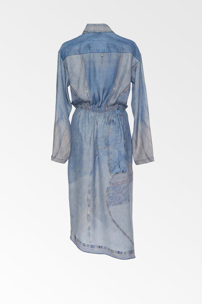 Silk denim print dress- SALE