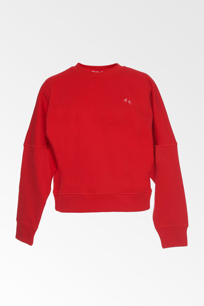 Hand Embroidered red sweatshirt- SALE