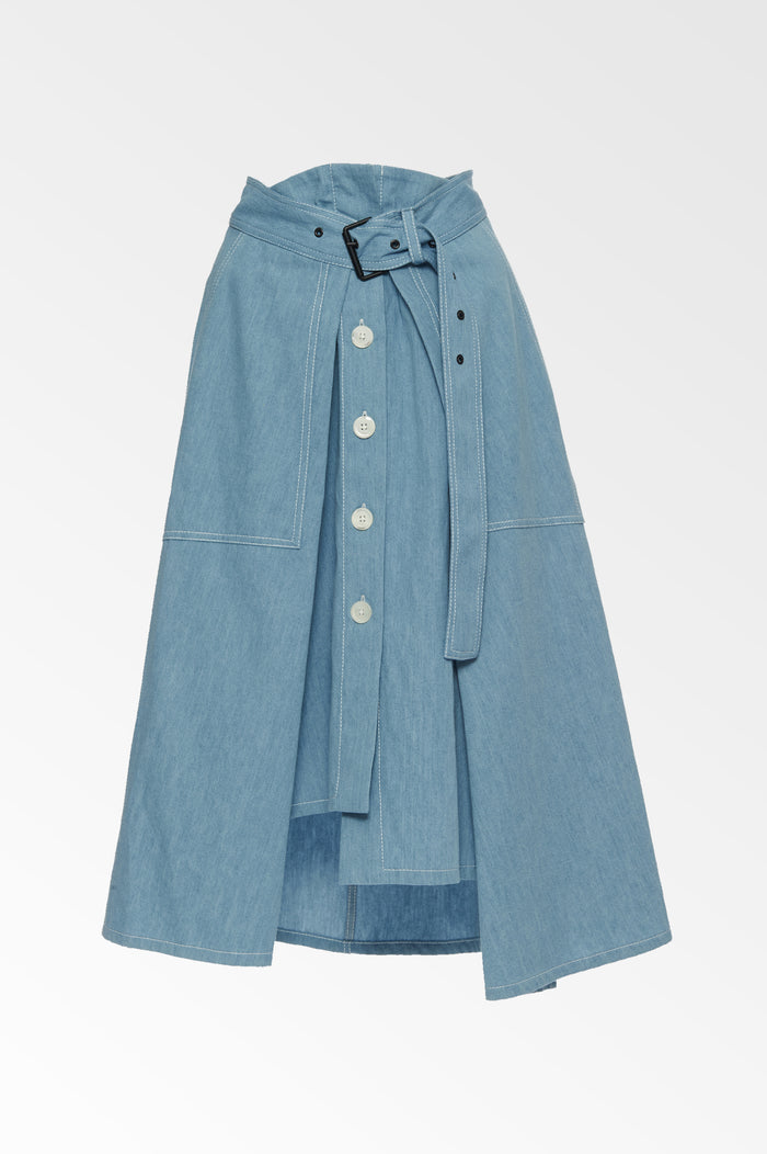 Chambray Asymmetric blue skirt