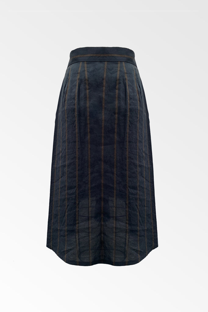 Navy Tan Striped Tie Front Asymmetric Skirt- ONLY 1 LEFT