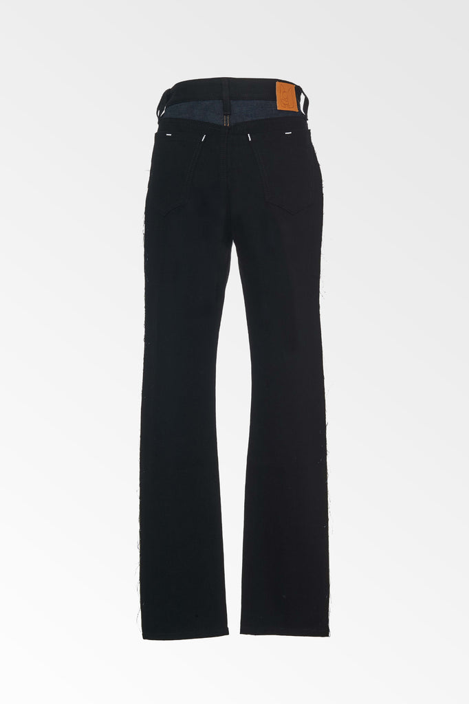High Rise two tone Blue/Black straight leg jeans
