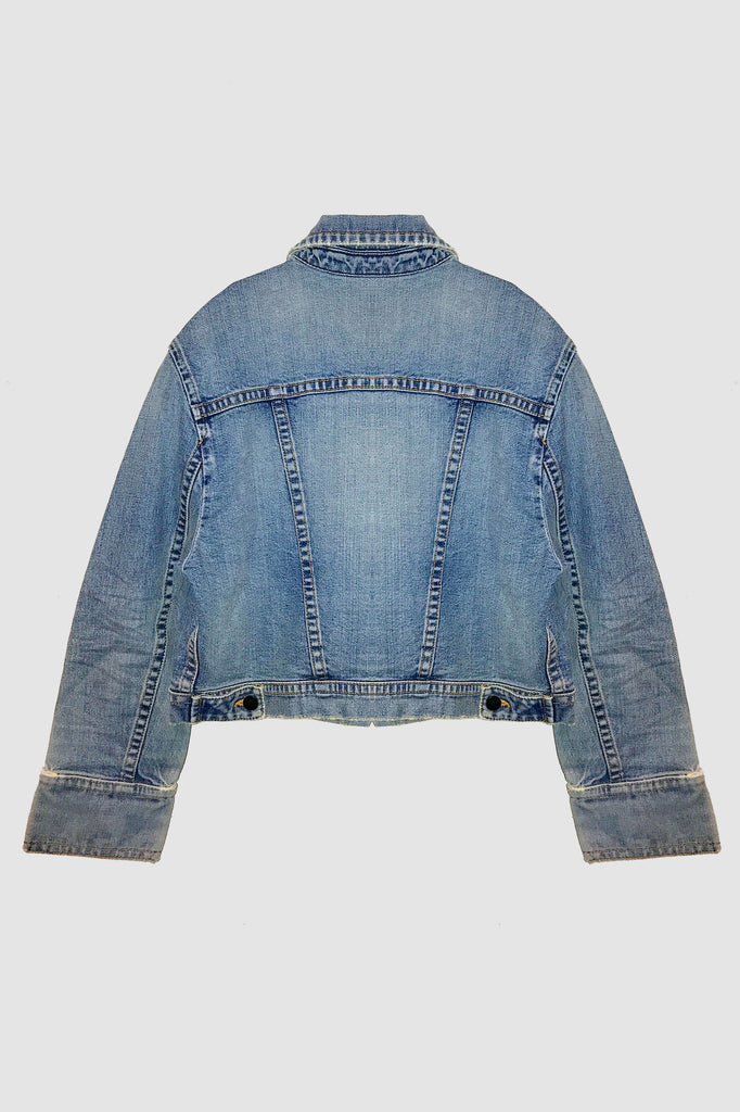 Cropped vintage wash relaxed cropped denim jacket