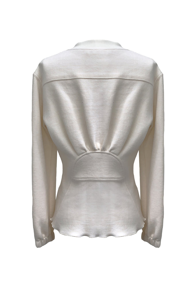 Peplum Sweatshirt Top- White