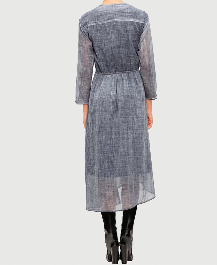Blue Cold Water Dye Indigo Wool Dress - Colovos x Woolmark