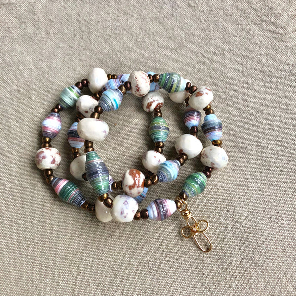 Custom Paper Bead Bracelet Set