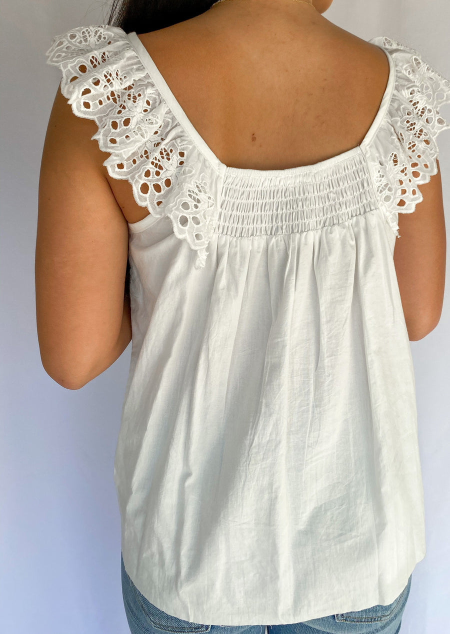 women's top, women's white top with lace, women's lace top, women's boutique dallas, dallas boutiques, dallas shopping, dallas clothing store