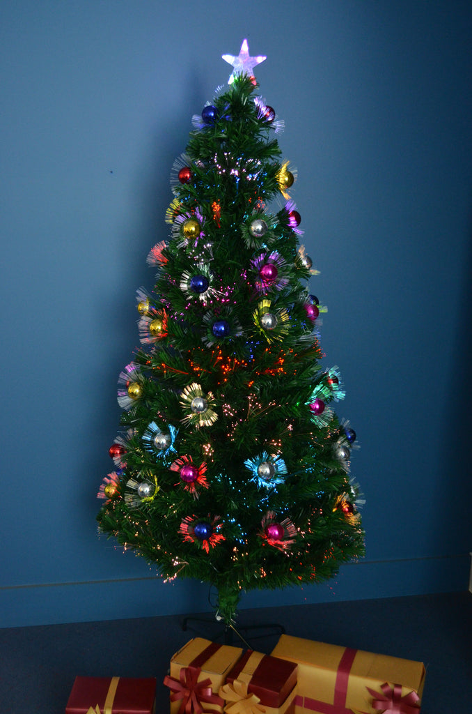 Large Fibre Optic Christmas Trees Part - 47: 1.8m 6Ft 180cm Fibre Optic LED Christmas Xmas Tree MULTI COLOUR DECORATED