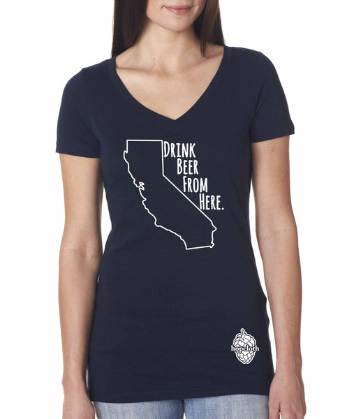 California Drink Beer From Here® - Women's Craft Beer v-neck shirt
