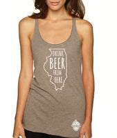 Illinois Drink Beer From Here® - Craft Beer racerback tank