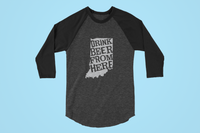 Indiana Drink Beer From Here® - Craft Beer Baseball tee