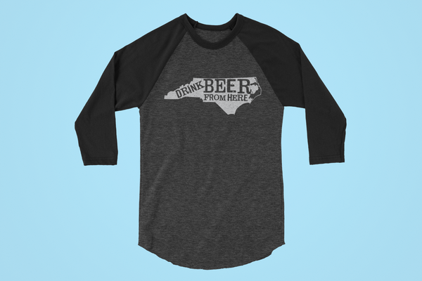 North Carolina Drink Beer From Here® - Craft Beer Baseball tee