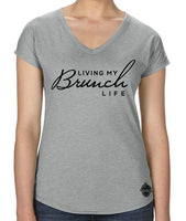 Living My Brunch Life- Women's V-Neck tee- t-shirt