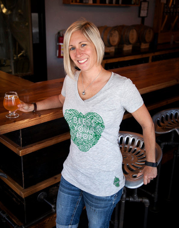 Craft Beer shirt- Bless Your Hop- women's v-neck