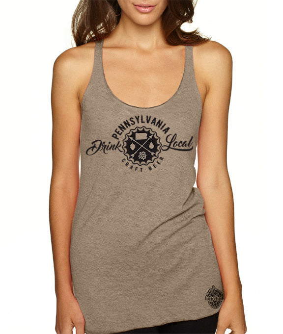 Craft Beer Shirt- Drink Local Pennsylvania women's tank top