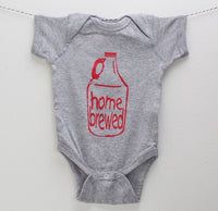 "Craft Beer Baby Bodysuit- ""Homebrewed""- Premium Screen Printed"