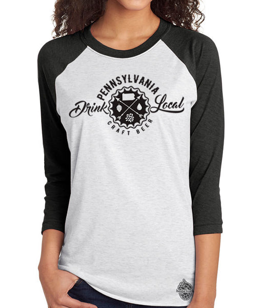 Craft Beer Shirt- Drink Local Pennsylvania Unisex Baseball Tee