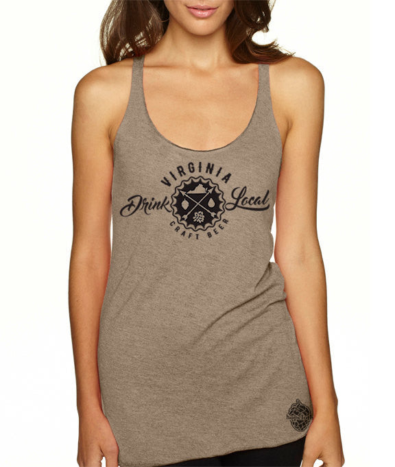Craft Beer Shirt- Drink Local Virginia women's tank top