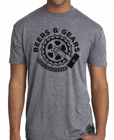 Craft Beer and Bikes shirt- Gears & Beers- Men's crew neck