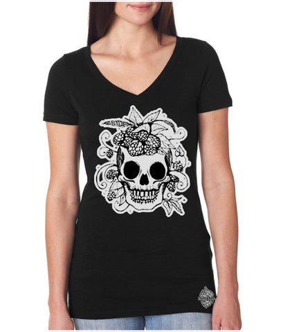 Glow-in-the-Dark Hop Skull craft beer women's v-neck t-shirt