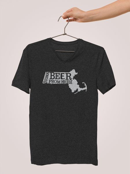 Massachusetts Drink Beer From Here® - V-Neck Craft Beer shirt