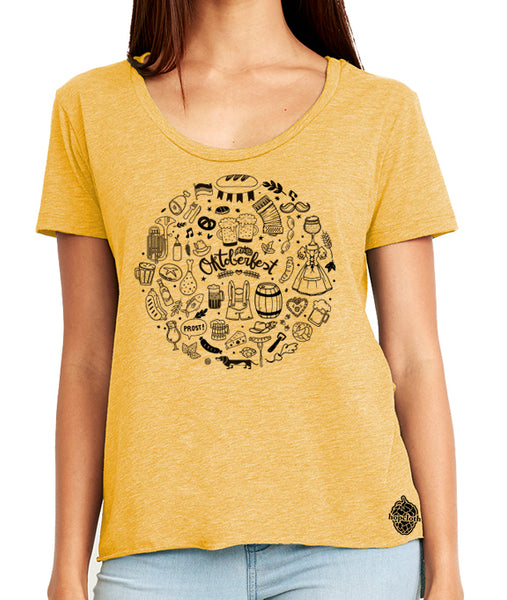 Oktoberfest Icons Craft Beer Shirt- women's scoop neck
