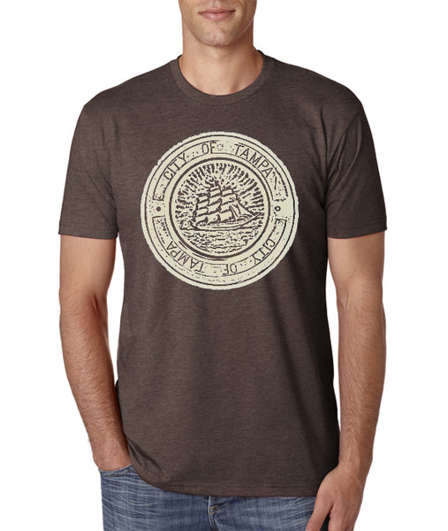 Tampa Ship Manhole cover- Men's Crew Neck t-shirt- Tampa, FL