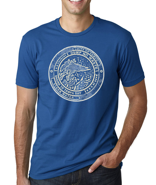 Tampa Snook Manhole cover- Men's Crew Neck t-shirt- Tampa, FL