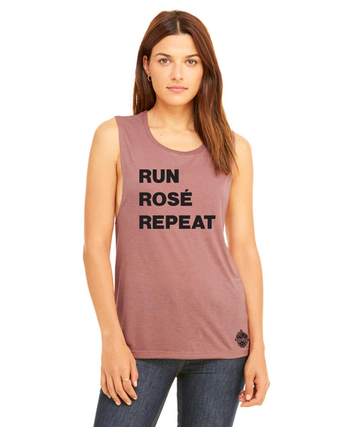 Run Rose Repeat workout shirt- women's Muscle Tank