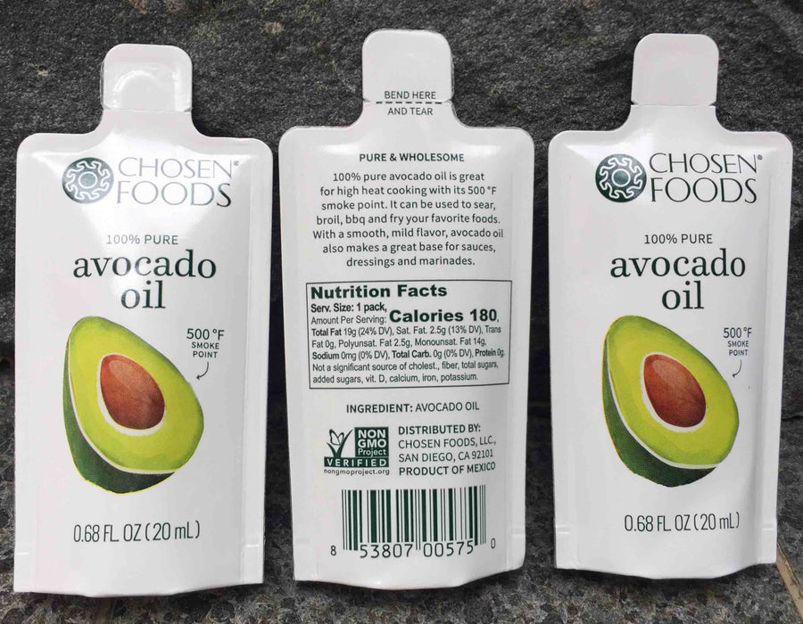 Chosen Foods ® 100% Pure Avocado Oil 3-Pack (20ml Xela Pack)