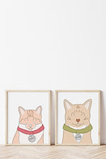 Set of 2 Custom Pet Portraits - bundle and save - shop happies wall art