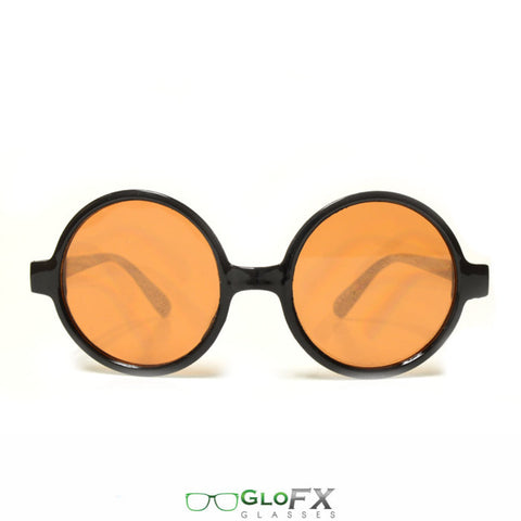 GloFX Round Retro Diffraction Glasses – Auburn Enhanced - Rave Galore