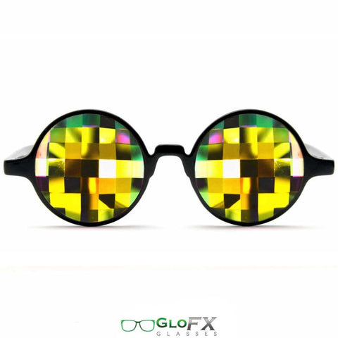 GloFX Black Kaleidoscope Glasses – Rainbow Bug Eye – Flat Back - Rave Galore