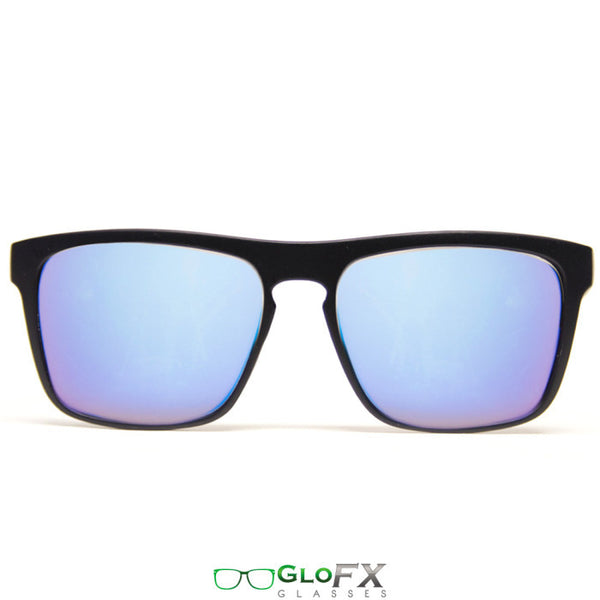 GloFX Bridge Diffraction Glasses – Flat Black – Blue Mirror - Rave Galore