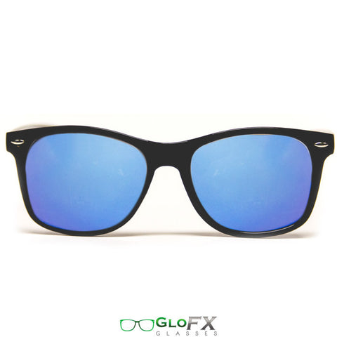 GloFX Diffraction Glasses – Black – Blue Mirror - Rave Galore