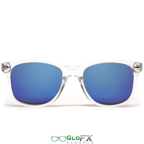 GloFX Diffraction Glasses – Clear – Blue Mirror - Rave Galore