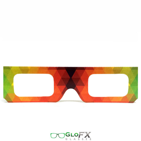 GloFX Paper Cardboard Diffraction Glasses – Rainbow Geometric - Rave Galore