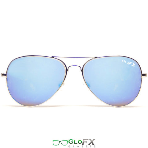 GloFX Metal Pilot Aviator Style Diffraction Glasses – Blue Mirror - Rave Galore