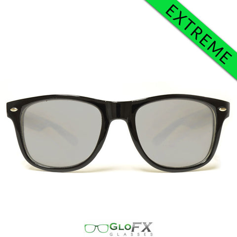 GloFX Ultimate EXTREME Diffraction Glasses – Black Tinted - Rave Galore