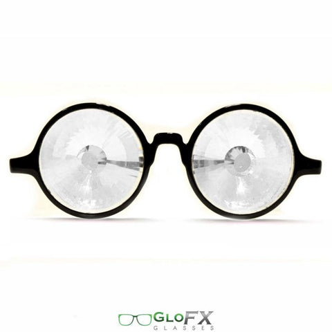 GloFX Black Kaleidoscope Glasses- Clear Wormhole - Rave Galore
