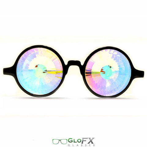 GloFX Black Kaleidoscope Glasses- Rainbow Wormhole - Rave Galore