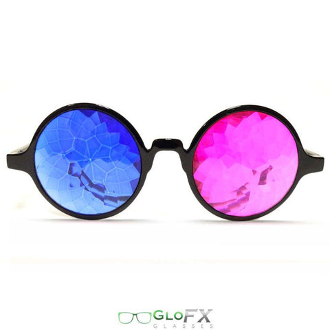 GloFX Black 3D Kaleidoscope Glasses- Sapphire & Magenta - Rave Galore