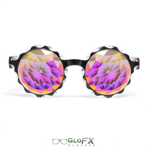 GloFX Black Crown Kaleidoscope Glasses – Rainbow Fractal – Flat Back - Rave Galore